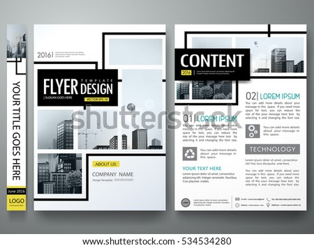 Portfolio design template vector.Minimal brochure report business flyers magazine poster.Abstract black and yellow square cover book presentation.City concept on A4 size layout.