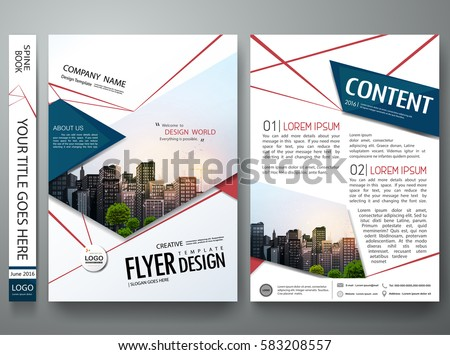 Portfolio design template vector. Minimal brochure report business flyers magazine poster. Abstract red cobweb and blue square shape on cover book presentation. City concept in A4 size layout.