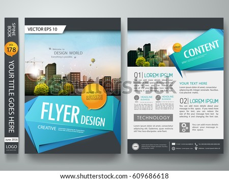 Portfolio design template vector. Minimal brochure report business flyers magazine poster. Abstract blue polygons on cover book presentation. City concept on A4 size layout.