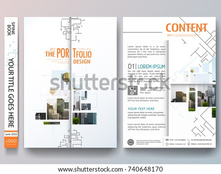 Portfolio design vector. Minimal brochure report business flyers magazine poster template. Abstract sci fi pattern and square line on cover book presentation.