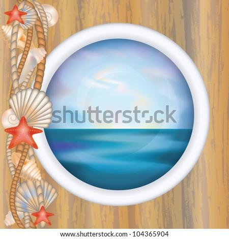 Porthole window with ocean scene, vector illustration - stock vector