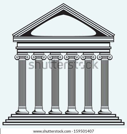 Portico an ancient temple. Bank. Colonnade isolated on blue background