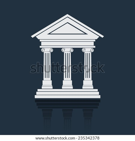 Portico an ancient temple. Bank. Official Place with the building facade with three pillars. Vector illustration. - stock vector