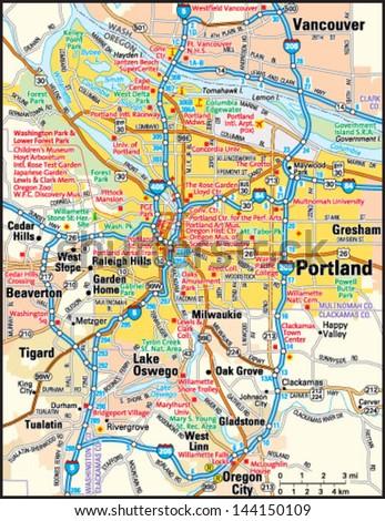 Portland Oregon Area Map Stock Vector Shutterstock - Oregon city map