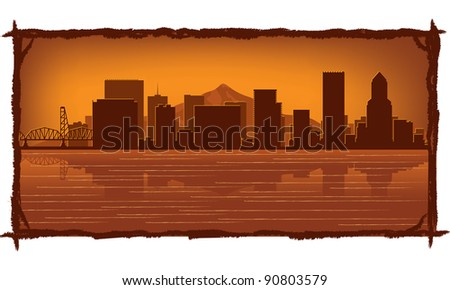 Portland skyline with reflection in water - stock vector