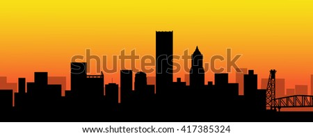 Portland  Sunset Skyline - Vector