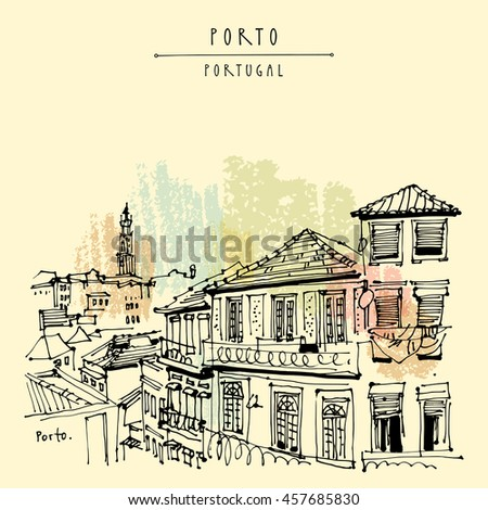 Porto, Portugal, Europe. Street in old town, nice houses and a church. Hand drawing in retro style. Travel sketch. Vintage touristic postcard, poster, calendar or book illustration in vector