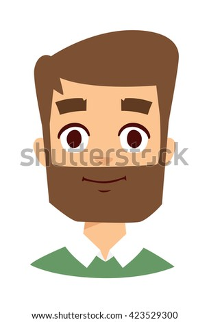 Portrait bearded man and Beard man vector character. Beard man attractive, adult, hipster and hairstyle beard expression handsome man. Fashionable lifestyle beard man serious model beauty person. - stock vector
