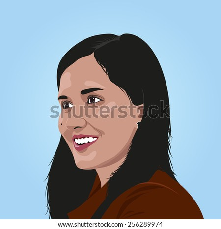 Portrait beauty girl. Vector - stock vector