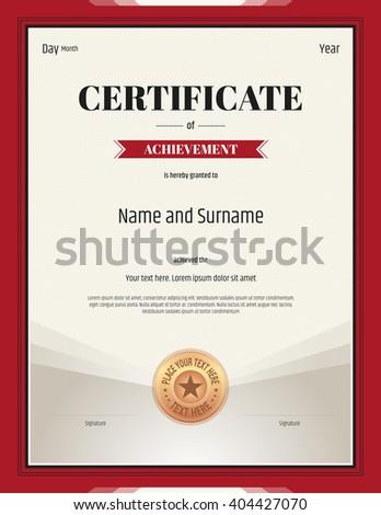 Portrait Certificate Achievement Template Vector Red Stock Vector Hd
