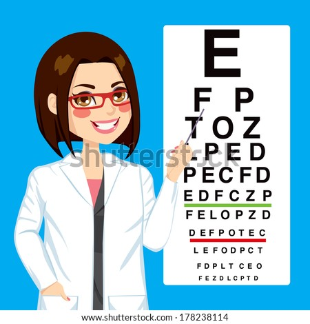 Portrait illustration of young pretty optometrist woman pointing to snellen test vision chart - stock vector