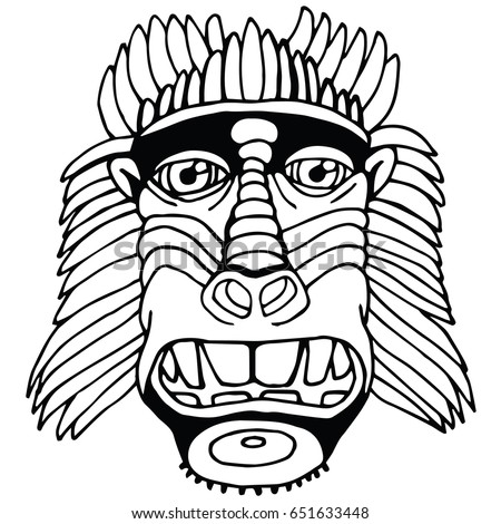 Portrait Monkey. Doodle Cartoon Face of Primate on White Background. Hand Drawn Black and White illustration.