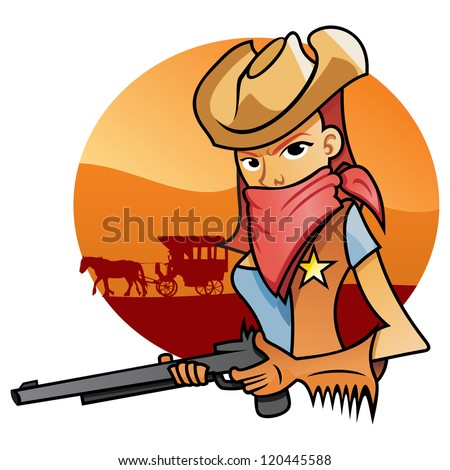 Portrait od Cowgirl - stock vector