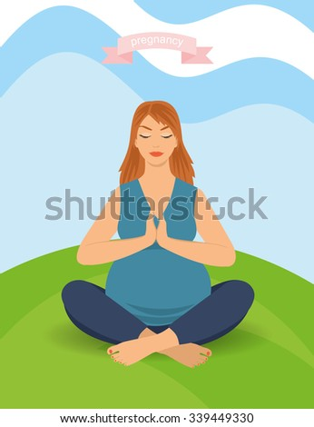 portrait of a beautiful young pregnant woman sitting in yoga pose outdoors. happy pregnant woman, vector illustration - stock vector