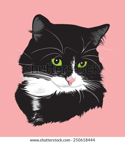 Portrait of a black cat with green eyes - stock vector
