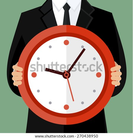 Portrait of a businessman holding a watch. Concept of time management - stock vector