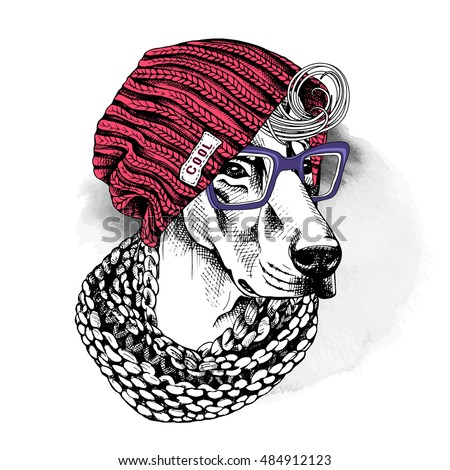 Portrait of a dog Doberman in a hipster knitted red hat, in a white scarf with a glasses. Vector illustration.