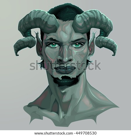 Portrait of a faun. Vector illustration - stock vector