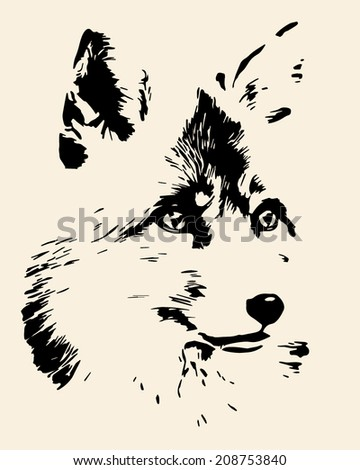 Portrait of a fox, isolated on sepia background. The head of a beautiful forest wild beast. Smart look of a dodgy vulpes. Great for user pic, icon, label, tattoo. Amazing monochrome vector image.  - stock vector