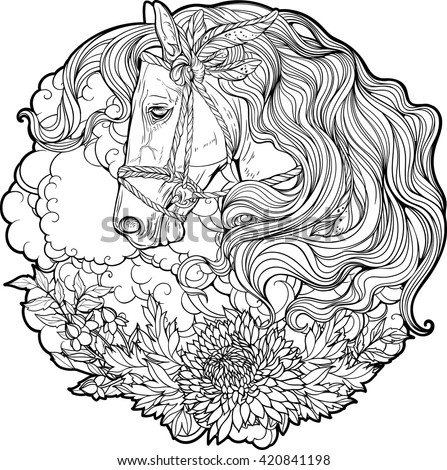 portrait of a horse with clouds and flowers coloring page