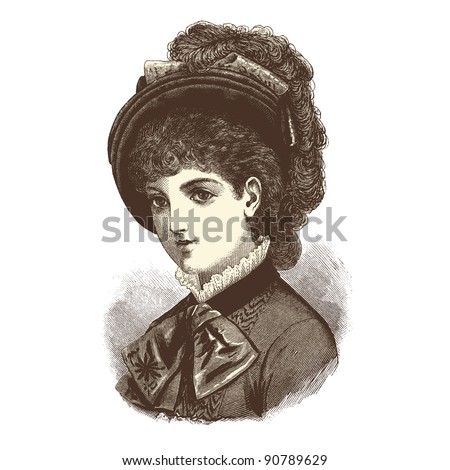 "Portrait of a lady - Vintage engraved illustration - ""La mode illustree"" by Firmin-Didot et Cie in 1882 France - stock vector"