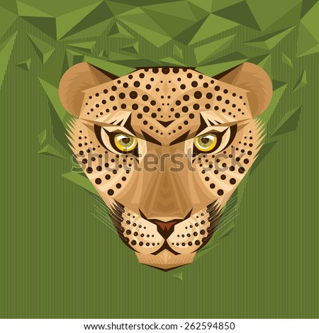 Portrait of a leopard on abstract background vector illustration - stock vector