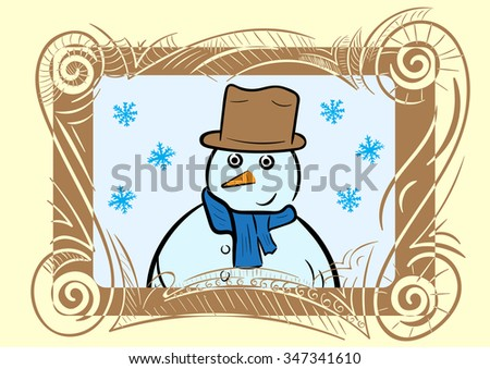 Portrait of a snowman in a decorative frame with a pattern - stock vector