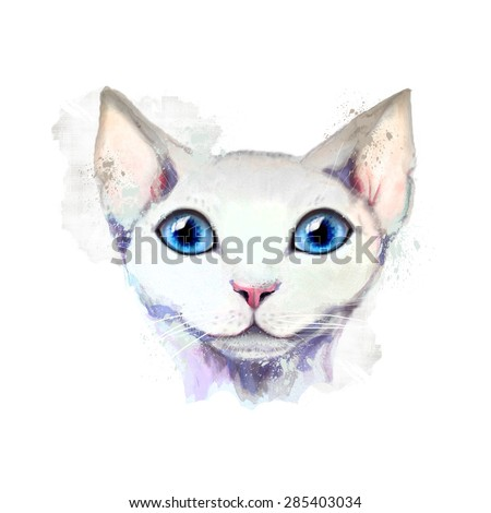 Portrait of a white cat with blue colored eyes, on a white background. Vector version