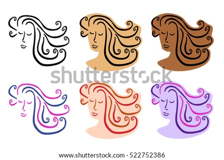 Portrait of a woman with curly, long hair in various colours