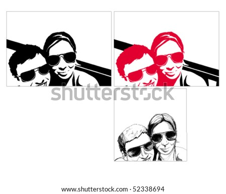 Portrait of a young handsome couple. - stock vector