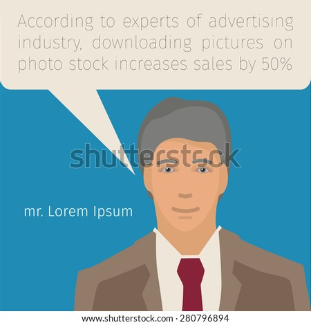 portrait of a young man in business suit with speech bubble - stock vector