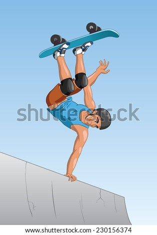 Portrait of an active skateboarder skating on a ramp at the skate park. - stock vector
