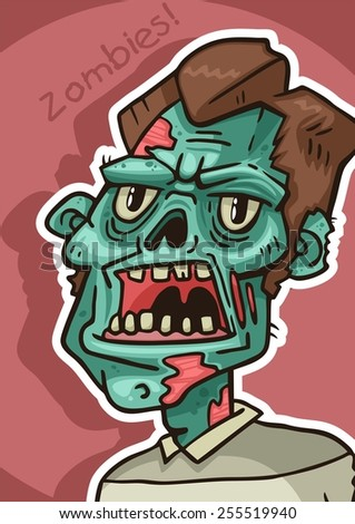 portrait of an angry zombie pink poster - stock vector