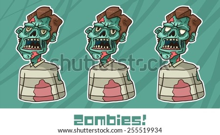 portrait of an angry zombie set - stock vector