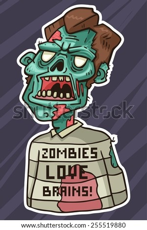 portrait of an angry zombie wearing a sweater with the inscription - stock vector