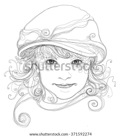 Portrait of an attractive girl. Linear vector black & white illustration - stock vector
