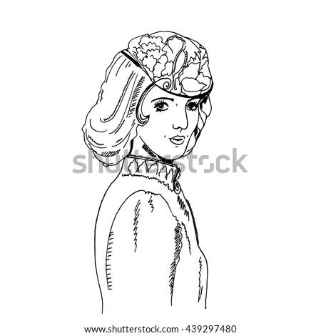 Portrait of an imaginary pretty woman with long combed hair and hat with decor. Hand drawn graphics illustration. Vintage style. Vector eps 10. For posters, coloring pages, clothes, prints, postcards.