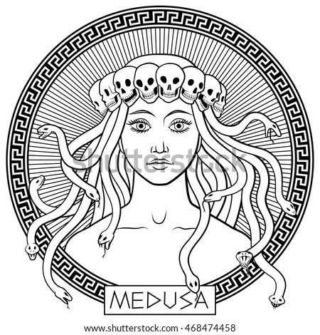 Portrait of ancient greek mythical character Medusa Gorgona in a crown of skulls. Hand-drawn black and white vector illustration