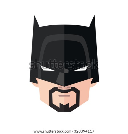 Portrait of angry man in superhero mask. Flat vector illustration isolated on white background.