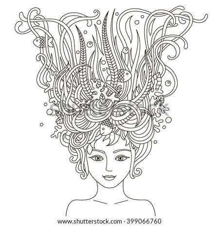 Portrait of beautiful fashion women with abstract wavy hair be used for coloring book  for adults. Mermaid. Vector illustration  - stock vector