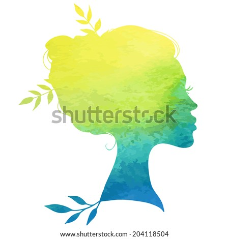 portrait of beautiful girl with a hairstyle, a woman in profile in watercolor style, vector illustrations of life concept - nature, ecology design - stock vector