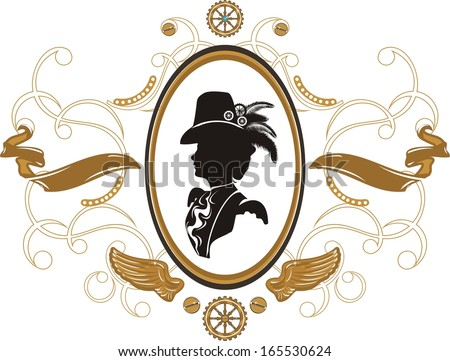 Portrait of Beautiful steampunk girl   in frame - stock vector