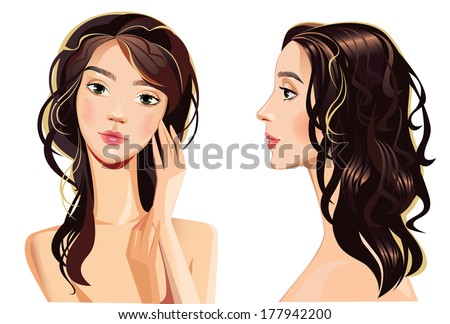 portrait of beautiful woman face straight and profile - stock vector