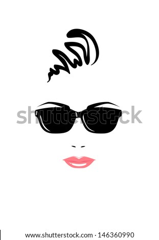 Portrait of beautiful woman in black sunglasses. Vector version. - stock vector
