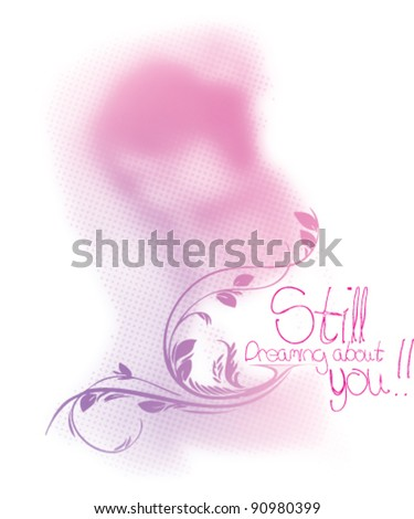 Portrait of beautiful young woman in sensual state covered with a flower - stock vector