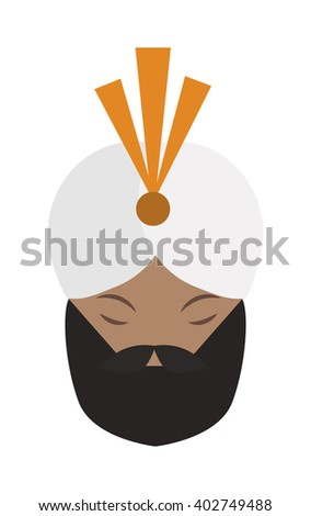 Portrait of casually indian face young beard, mustache man with white gandhi vector. Gandhi indian face and bread indian face mustache. Casual happy attractive indian traditional culture character. - stock vector