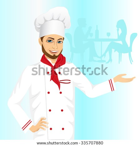 portrait of cheerful hipster male chef holding something on his palm on blue background - stock vector