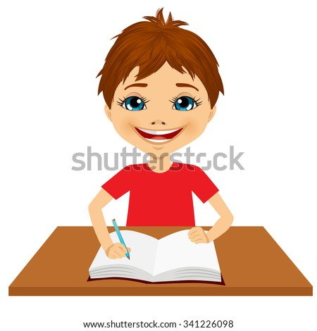 portrait of cute little caucasian student boy writing something and smiling happy sitting at the desk