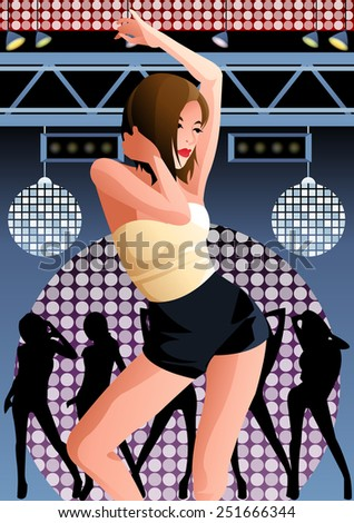 Portrait of cute young Girl, play in a discotheque on fantastic disco festival on blue background with colorful mirror ball and silhouettes of excited people : vector illustration - stock vector