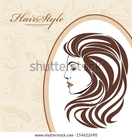 Portrait of elegant woman in ornamental frame. Hairstyle background. Vector - stock vector
